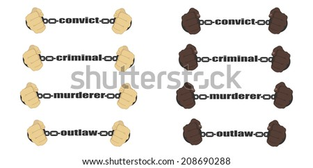 Convict,criminal,murderer, outlaw signs. Man fists in strained chains  - stock photo