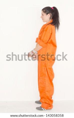 Convict Woman Handcuffs Orange Jumpsuit Look Stock Photo 143058358 ...