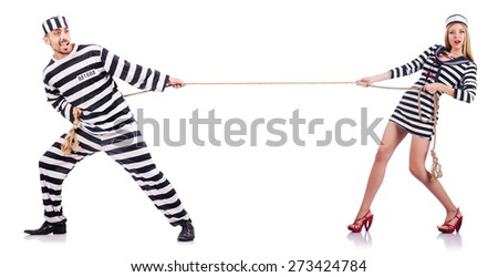 Convicted man and seaman girl isolated on white - stock photo