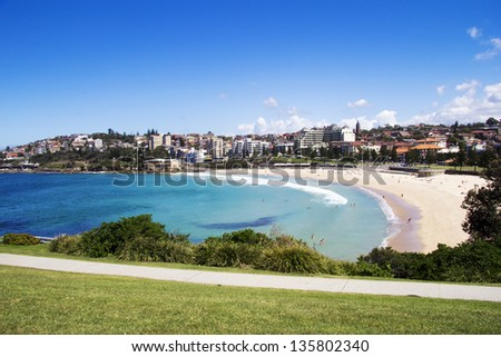 Coogee Beach, Eastern Beaches, Sydney, New South Wales, Australia on a beautiful sunny day - stock photo