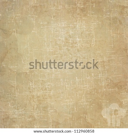Cook and spoon icon on old paper background and pattern - stock photo