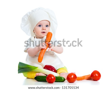 cook baby girl isolated on white - stock photo