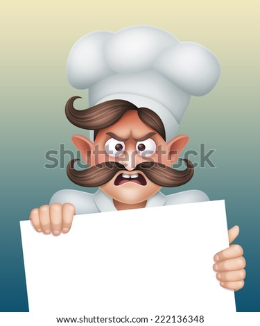 cook behind the message board, angry boy, restaurant menu template, cartoon character illustration - stock photo