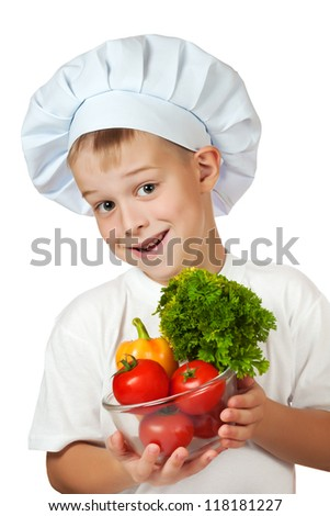 cook boy is holding fresh vegetables. isolated