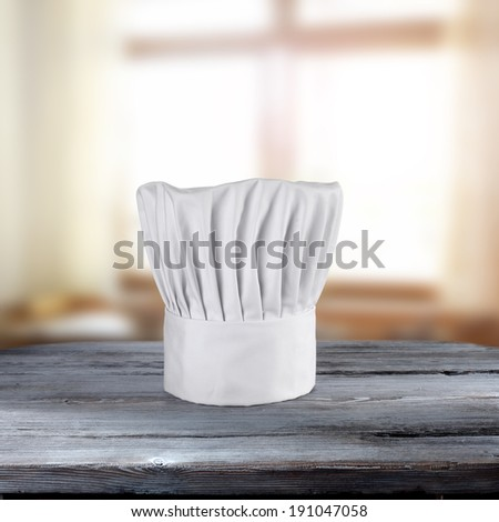 cook hat and window  - stock photo