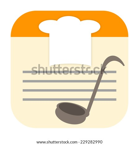 Cook icon with chef hat and soup ladle on recipe card - stock photo