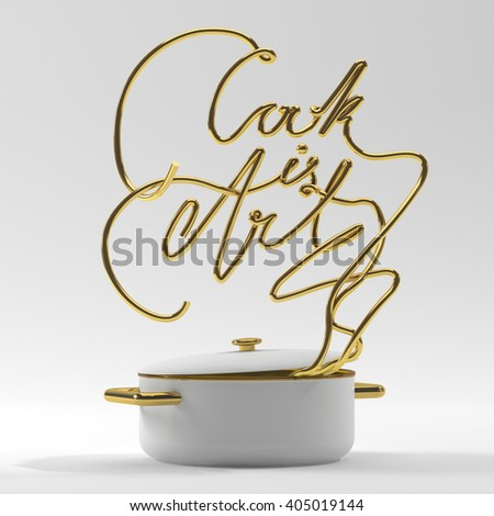 Cook is art quote with pot modern 3D rendering 3D illustration