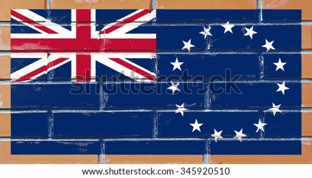 Cook Islands flag painted on old brick wall texture background