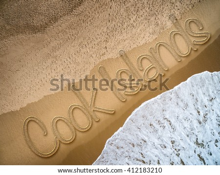 Cook Islands written on the beach