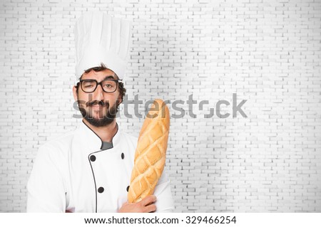 cook man happy with bread