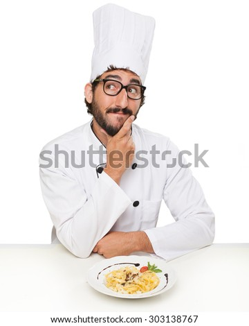 cook man thinking with pasta