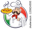 cook pizza. illustration isolated on a white background - stock vector
