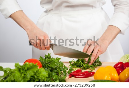 Cook's hands preparing vegetable salad - closeup shot - stock photo