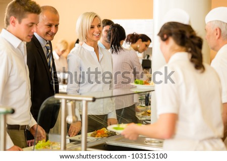 Cook serve meals business woman take lunch in cafeteria - stock photo