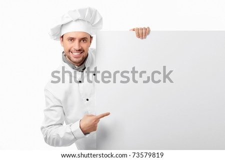 Cook showed to an empty board on a white background - stock photo