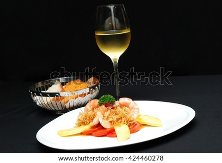 Cook Shrimp with Mango flesh and sauce, selective focus - stock photo