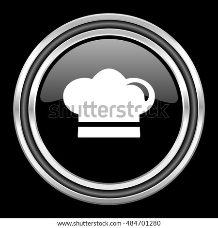 cook silver chrome metallic round web icon on black background