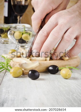 cook the sliced mushrooms on a cutting board. selective focus.health and diet - stock photo