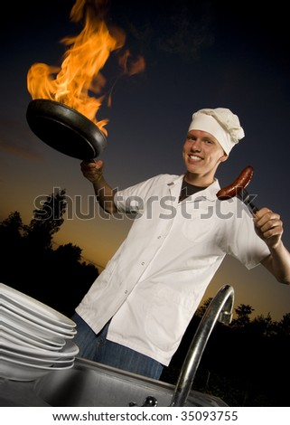 Cook with grill - stock photo