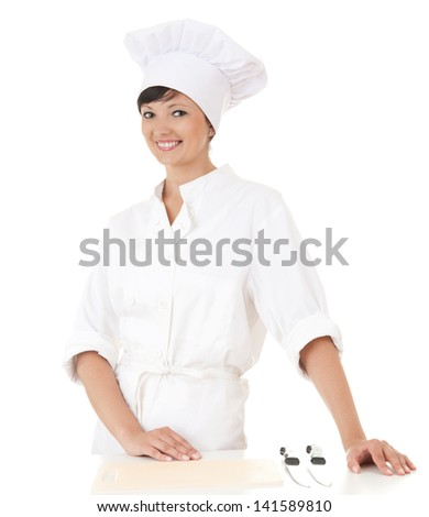 cook woman in white uniform and hat, white background - stock photo