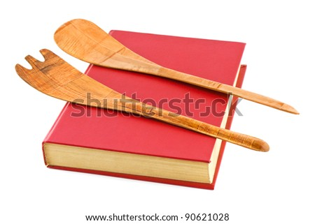 Cookbook and kitchenware isolated on white background - stock photo