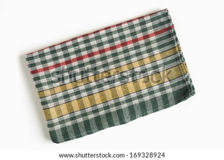 Cookbook background/Cookbook background. Plaid cloth on white background