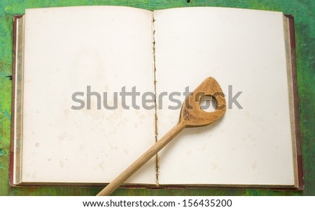 cookbook,old blank recipe book, free copy space - stock photo