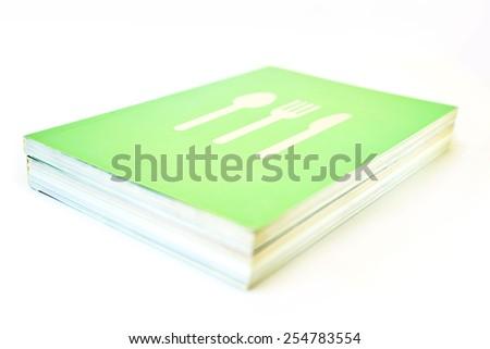 Cookbook on white background - stock photo