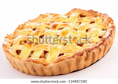 cooked apple pie - stock photo