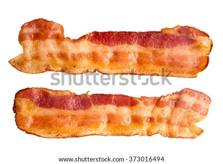 Cooked bacon rashers isolated on white - stock photo
