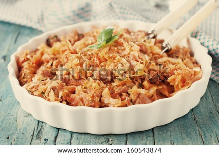 Cooked cabbage with meat, retro style