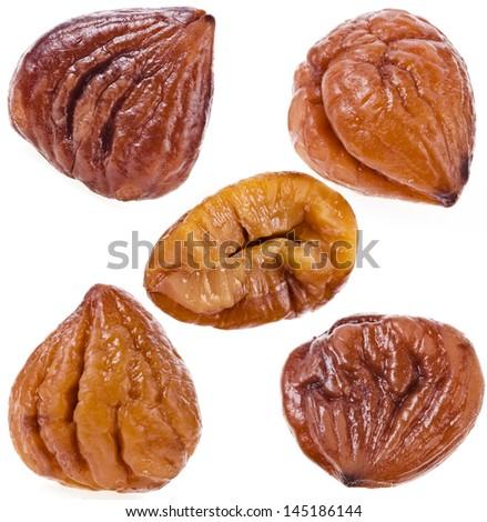 Cooked chestnut fruits set  isolated on white background - stock photo