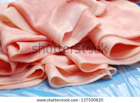 Cooked ham slices detail.prosciutto. - stock photo