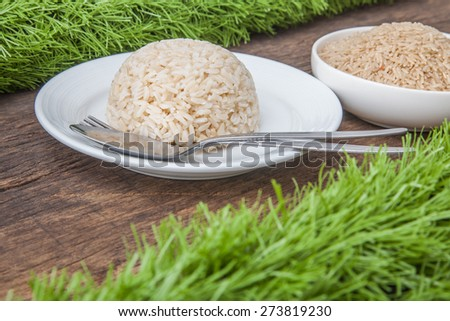 cooked jasmine brown rice on white plate with spoon and fork and background of raw jasmine brown rice in white bowl, on wooden table top decoration with green grass - stock photo