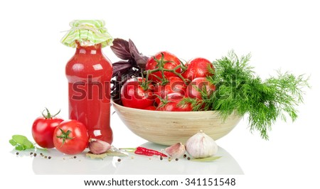Cooked ketchup and fresh tomatoes with spices on a white background