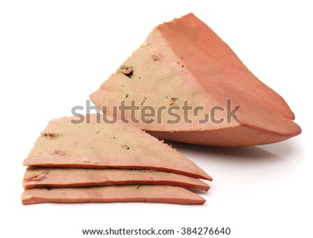 Cooked liver slices,isolated on white background.