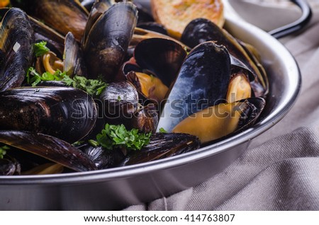 Cooked mussels in a pan close up
