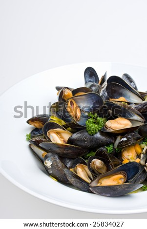 cooked open blue mussels