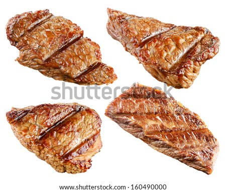 Cooked rib-eye steak isolated. Collection - stock photo