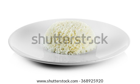 Cooked rice with plate isolated on white background. - stock photo
