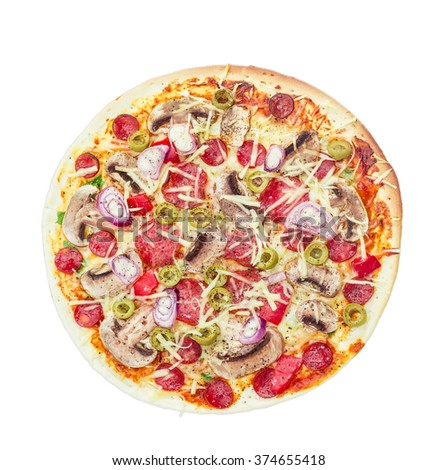 Cooked round pizza with various sausages, button mushrooms and olives on a light background