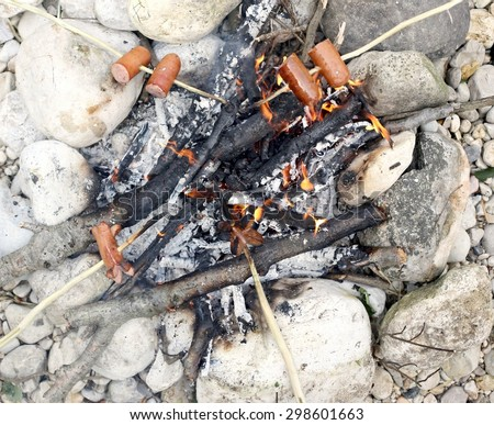 cooked sausage with stick in the fire of summer camp