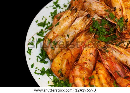 Cooked Shrimp on white plate
