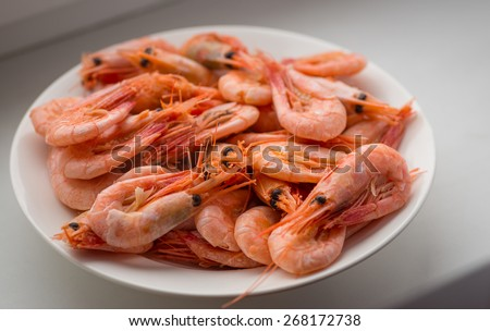 Cooked shrimp on white plate. Selective focus with shallow depth of field. - stock photo