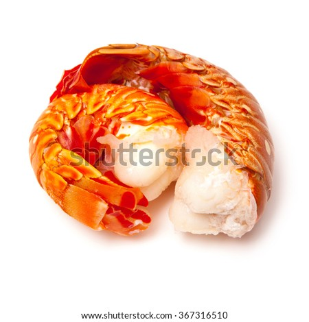 Cooked tropical Caribbean ( Bahamas )  lobster (Panuliirus argus) or spiny lobster tails isolated on a white studio background. - stock photo