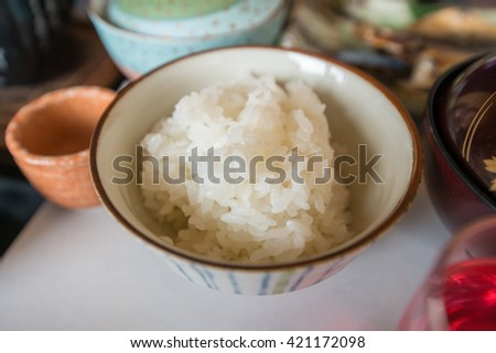 Cooked white rice portion in a bowl