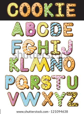 Cookie Alphabet Illustration A through Z - stock photo