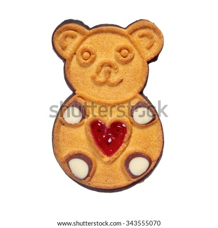 Cookie bear isolated over white - stock photo