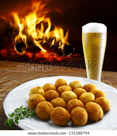 Cookie cod with beer - stock photo
