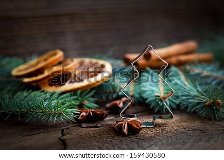 cookie cutter and christmas decoration with copy space   - stock photo